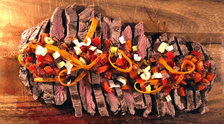 Flank Steak Tranchen, perfekt gegrillt