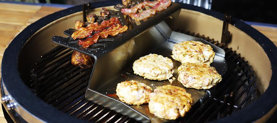 Chickenburger von der Plancha Kirschner Metallbau Monolith LeChef